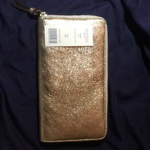 Tory Burch Crinkle metallic Gold zip Cont. Wallet